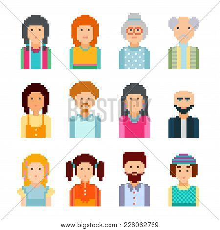 Pixel Male And Female Faces Avatars Vector Illustration 8 Bit Graphic Style.