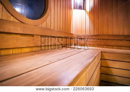 Wooden Russian Bathhouse Sauna Benches In Hospital Recreational Room,