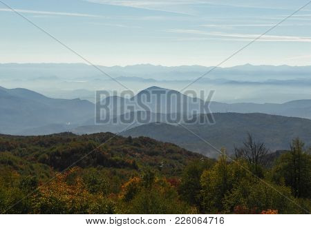 Blue Layers And Haze Of Mountains, Autumn