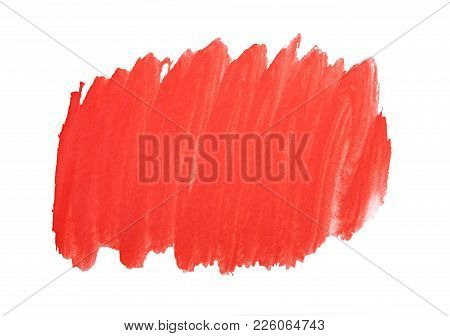 Red Marker Paint Texture Isolated On White Background. Red Paint Stroke. Pattern, Texture Of Colored