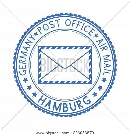Blue Postal Stamp Hamburg, Germany. Postmark With Envelope Sign. Vector Illustration Isolated On Whi