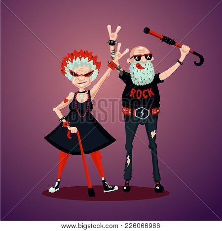 Senior Adult Couple. Old Friends. Rock Fans. Humor Illustration, Cartoon Characters