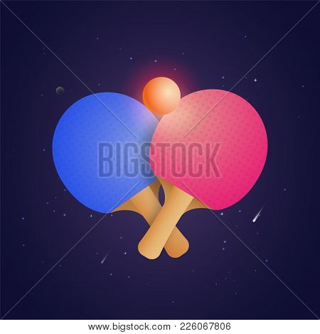 Two Racket For Table Tennis With Ball In Futuristic Style Vector Illustration. Ping Pong Championshi