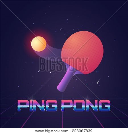 Racket For Ping Pong With Ball In Futuristic Style Vector Illustration. Poster Template For Champion