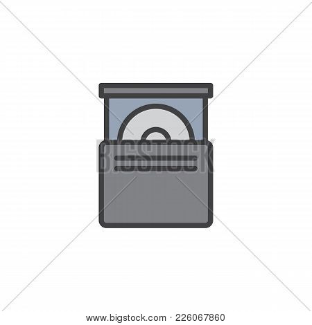 Cd Drive Filled Outline Icon, Line Vector Sign, Linear Colorful Pictogram Isolated On White. Optical