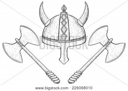 Viking Helmet And Two Bladed Axes. Hand Drawn Sketch. Vector Illustration Isolated On White Backgrou