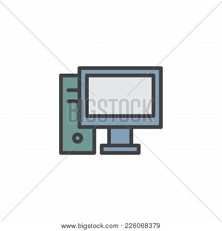 Desktop Computer Filled Outline Icon, Line Vector Sign, Linear Colorful Pictogram Isolated On White.