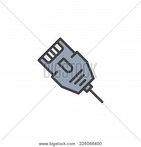 Lan Connector Cable Filled Outline Icon, Line Vector Sign, Linear Colorful Pictogram Isolated On Whi