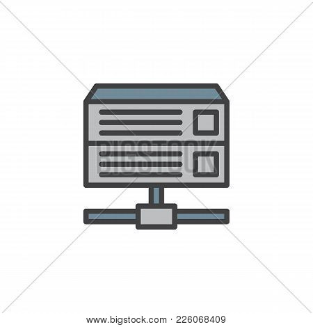 Database Server Filled Outline Icon, Line Vector Sign, Linear Colorful Pictogram Isolated On White.