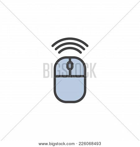 Wireless Connection Mouse Filled Outline Icon, Line Vector Sign, Linear Colorful Pictogram Isolated