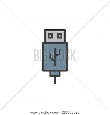 Usb Cable Connector Cord Filled Outline Icon, Line Vector Sign, Linear Colorful Pictogram Isolated O