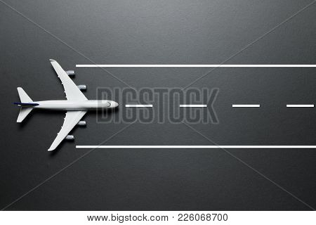 Model Airplane On Runway
