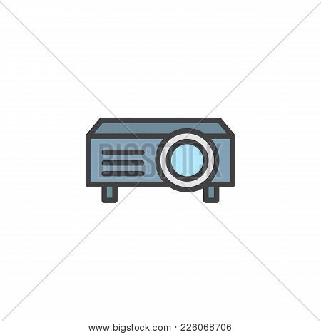 Presentation Digital Projector Filled Outline Icon, Line Vector Sign, Linear Colorful Pictogram Isol