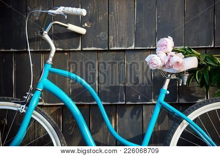 Close-up Of A Blue Vintage Bicycle On Which Lies A Bouquet Of Gently Pink Peonies On A Dark Wall Bac