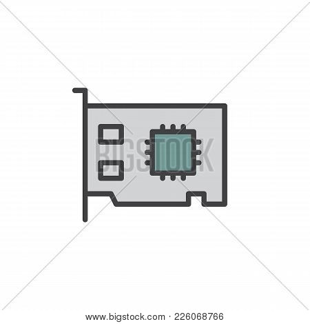 Networking Card Filled Outline Icon, Line Vector Sign, Linear Colorful Pictogram Isolated On White.