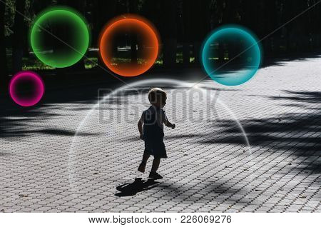Protection Against Vaccination. A Little Boy Runs Through The Park. Protective Transparent Dome Bact