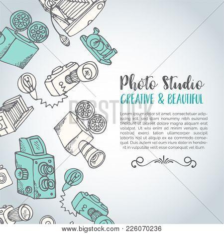Sketchy Hand Drawn Vector Photo Card. Hand Drawn Doodle Cartoon Retro Photo Cameras, Vector Illustra