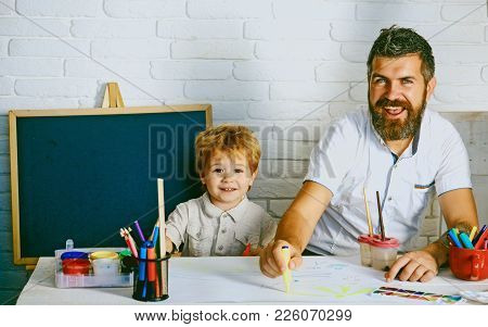 Happy Boy, Emotional Portrait Of Boy In White T-shirt. Surprised Toddler Looking At Camera. Handsome
