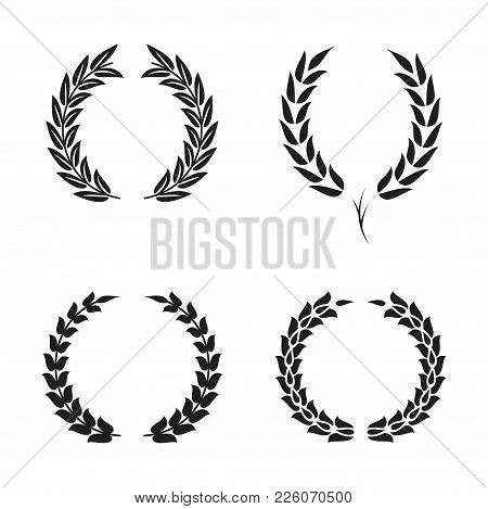Laurel Wreath Foliate Symbols Set. Black Circular Silhouettes Of Laurel Wreath With Leaves For Award