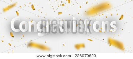 Congratulations Gold Celebration Background With Confetti. Congratulations Gold Celebration Backgrou