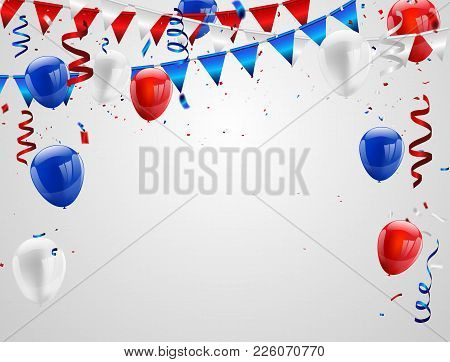 Red White Blue Balloons, Confetti Concept Design Columbus Day, Greeting Background. Celebration Vect