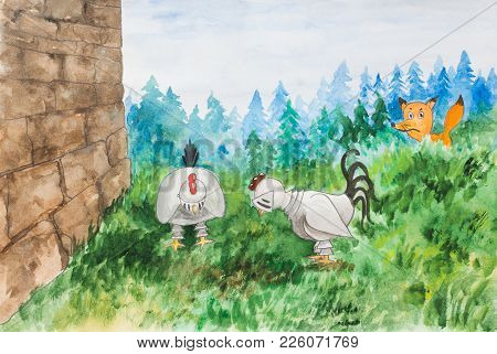 The Fox Is Watching The Chickens. Chickens Dressed Up In A Suit Of Armor