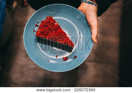 Red Velvet Cake One Piece Creamy Topping On Marble Table With Dark Background