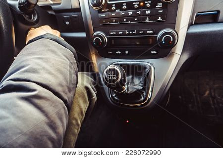 Lever Manual Six-speed Gearbox. Gear-lever View From Above. Handle A Manual Transmission In A Blurry
