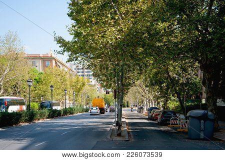 City street car traffic in the morning, Sevilla, Spain