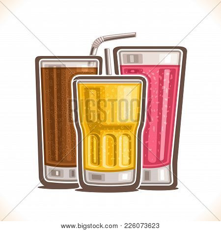 Vector Illustration Of Refreshing Drinks, Poster With Carbonated Cola, Fresh Pink Raspberry Juice Wi