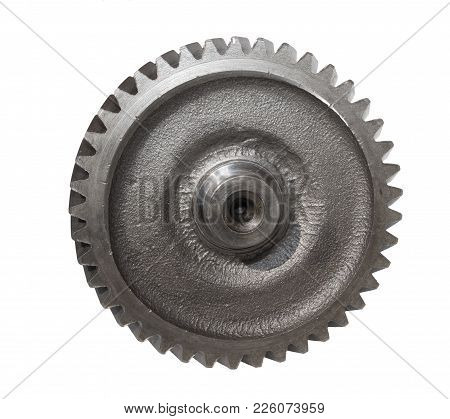 Metal Shaft Gears Isolated  On White Background
