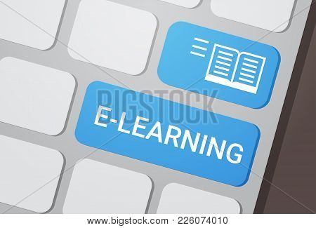 E-learning Button On Laptop Keyboard Online Education Concept Flat Vector Illustration