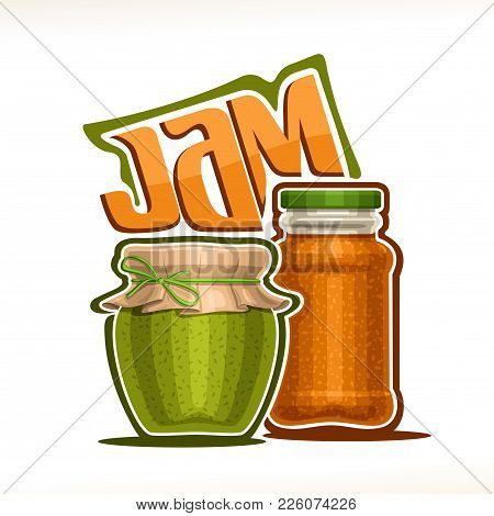 Vector Illustration Of Fruit Jam, Poster With Rustic Pot Of Kiwi Jelly With Paper Cover And Rope Tie