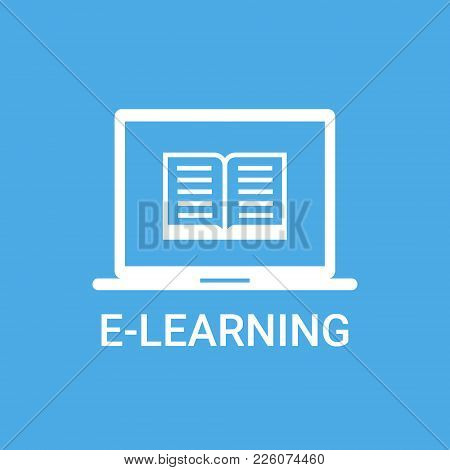 E-learning Label Online Education Icon Concept Laptop Computer With Book Icon Vector Illustration