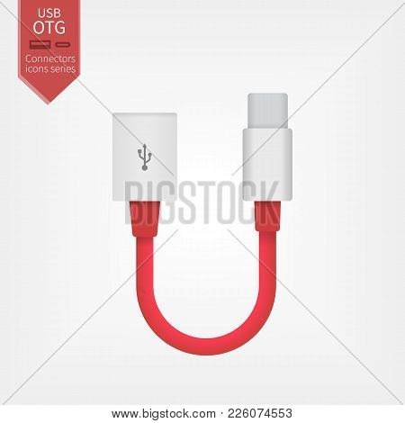 Usb Otg Red Cable Icon, Vector On-the-go Cable Symbol Or Logo