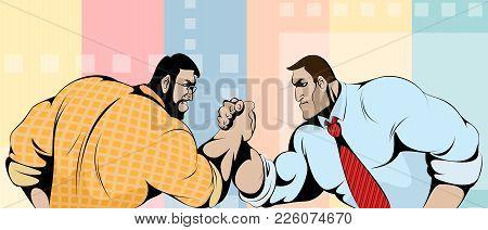 Vector Illustration Of The Struggle Of Businessmen