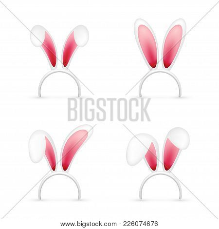 Easter Bunny Ears. Pink And White Mask With Rabbit Ear. Spring Seasonal Cute Hat. April, March Holid