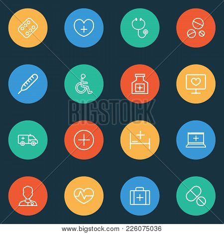 Drug Icons Line Style Set With Equipment, Stethoscope, Medicines And Other Case Elements. Isolated V