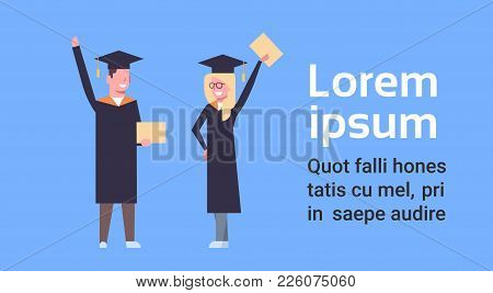 Happy Girl And Boy Students In Graduation Cap And Gown Standing Hold Diploma On Blue Background With