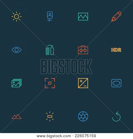 Image Icons Line Style Set With Shine, Photography, Mode And Other Exposure Elements. Isolated Vecto