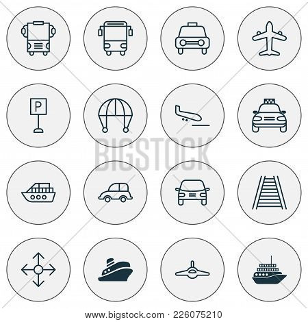 Shipping Icons Set With Parking Sign, Combat Aircraft, Auto And Other Travel Boat Elements. Isolated