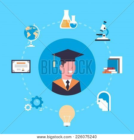 University Or College Graduation Concept Student In Cap And Gown Over Education Icons Flat Vector Il