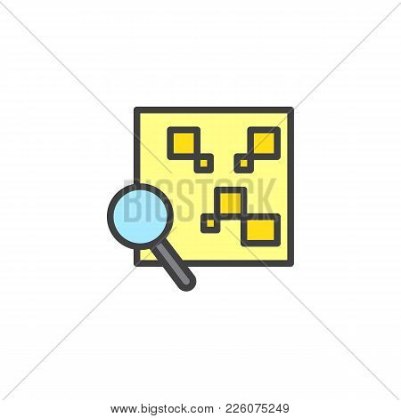 Qr Code With Magnifying Glass Filled Outline Icon, Line Vector Sign, Linear Colorful Pictogram Isola