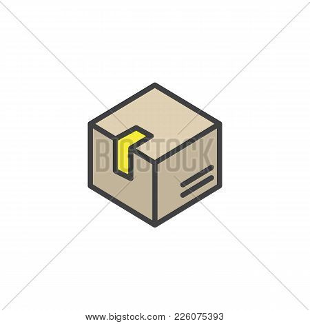 Delivery Box Filled Outline Icon, Line Vector Sign, Linear Colorful Pictogram Isolated On White. Box