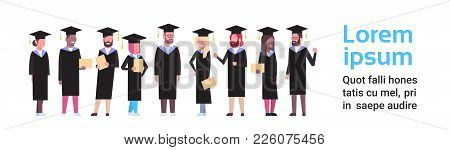 Group Of Diverse Students In Graduation Cap And Gown Hold Diploma Full Length Over White Background