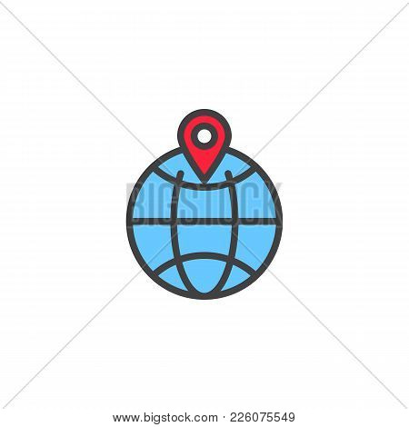 Location Pin On A Globe Filled Outline Icon, Line Vector Sign, Linear Colorful Pictogram Isolated On