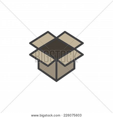 Open Parcel Box Filled Outline Icon, Line Vector Sign, Linear Colorful Pictogram Isolated On White.