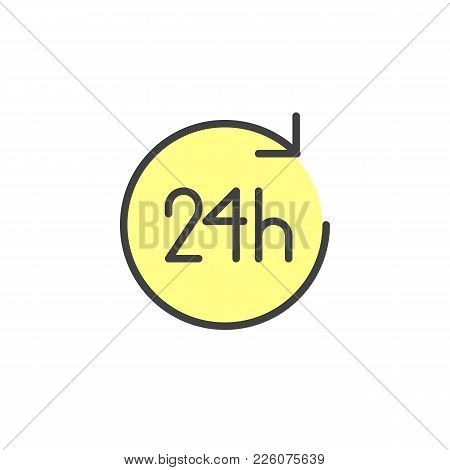 24 Hours Filled Outline Icon, Line Vector Sign, Linear Colorful Pictogram Isolated On White. Open Tw