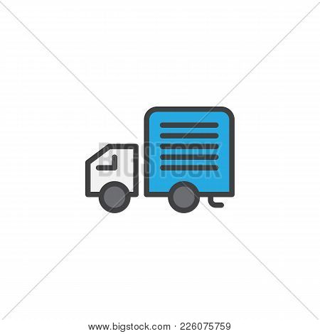 Delivery Truck Filled Outline Icon, Line Vector Sign, Linear Colorful Pictogram Isolated On White. L
