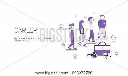 Career Business Development Success Web Banner Template With Copy Space Thin Line Vector Illustratio